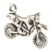 Motocross Bike  3D Sterling Silver Charms